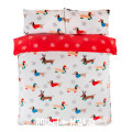 Teddy Fleece Reversible Double Bedding Set WINTER SAUSAGE DOG 200x200