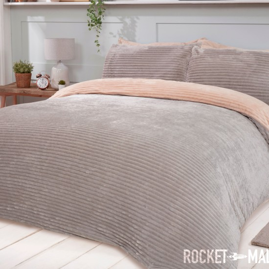 Teddy Fleece Reversible Double Bedding Set CHAMPAGNE RIBBED 200x200
