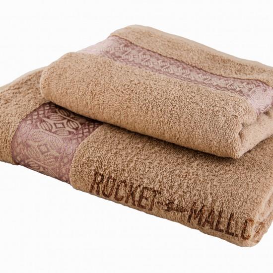 Terry bath towel and hand towel set Florina BROWN 70x140 + 50x100